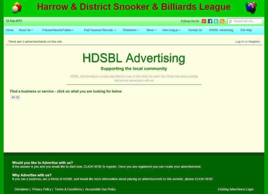 Screenshot of HDSBL Advertising page
